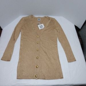 Anne Klein Gold Metallic Button Up Cardigan